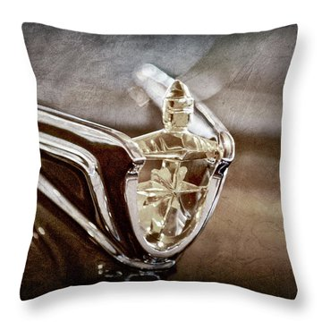 Throw Pillow featuring the photograph 1956 Lincoln Premiere Convertible Hood Ornament -2797ac by Jill Reger