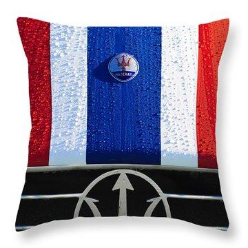Throw Pillow featuring the photograph 1956 Maserati 350 S Hood Ornament Emblem 3 by Jill Reger