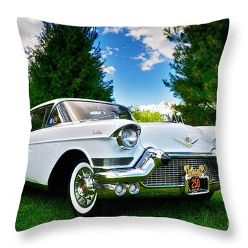 1957 Cadillac Throw Pillow by Mark Miller