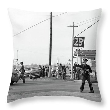 1957 Car Accident Throw Pillow by Paul Seymour