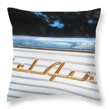 Throw Pillow featuring the photograph 1957 Chevrolet Bel Air by Theresa Tahara