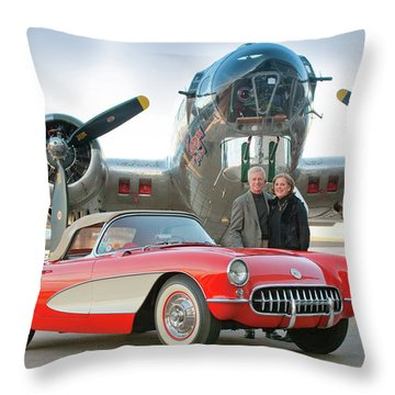 1957 Chevrolet Corvette - Winkler 0327c Throw Pillow