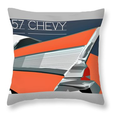 Throw Pillow featuring the digital art 1957 Chevy Art Design By John Foster Dyess by John Dyess