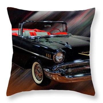 1957 Chevy Bel Air Convertible Digital Oil Throw Pillow