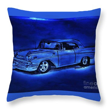 1957 Chevy Bel Air - Moonlight Cruisin  Throw Pillow