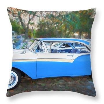 1957 Ford 2 Door Fairlane C130 Throw Pillow