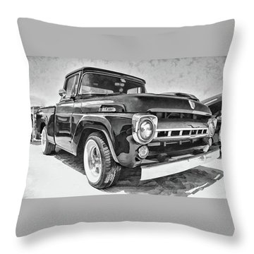 1957 Ford F100 In Black And White Throw Pillow