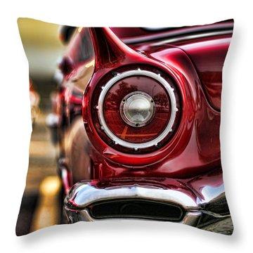 1957 Ford Thunderbird Red Convertible Throw Pillow by Gordon Dean II