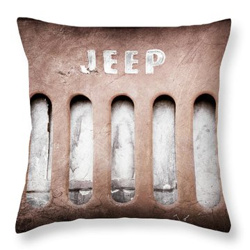 Throw Pillow featuring the photograph 1957 Jeep Emblem -0597ac by Jill Reger