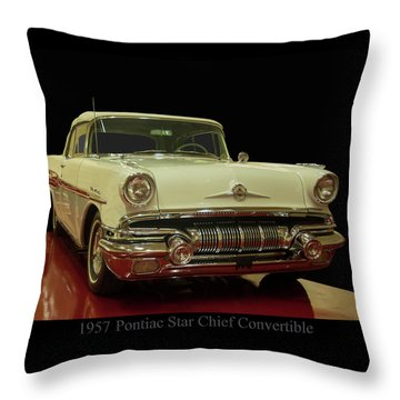 Throw Pillow featuring the photograph 1957 Pontiac Star Chief Convertible by Chris Flees