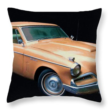 1957 Studebaker Golden Hawk Digital Oil Throw Pillow
