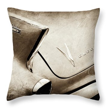 Throw Pillow featuring the photograph 1958 Cadillac Eldorado Biarritz Taillight Emblems -0255s by Jill Reger
