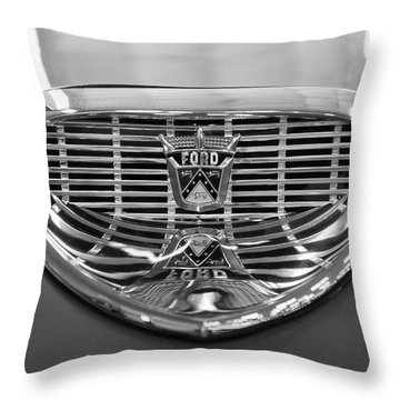 Throw Pillow featuring the digital art 1958 Ford Fairlane Sunliner Intake Bw by Chris Flees