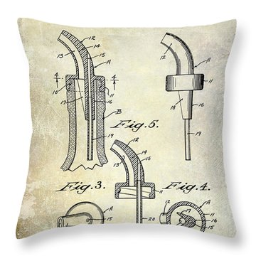 1958 Liquor Bottle Pour Patent Throw Pillow