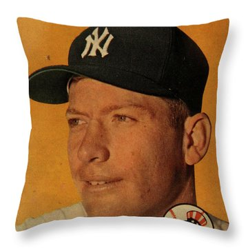 1958 Topps Baseball Mickey Mantle Card Vintage Poster Throw Pillow by Design Turnpike
