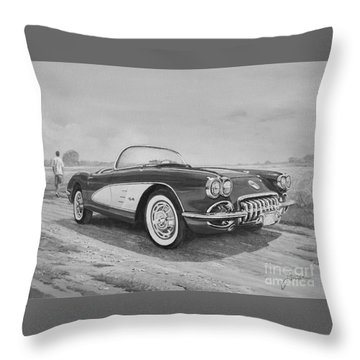 1959 Chevrolet Corvette Cabriolet In Black And White Throw Pillow