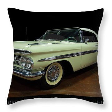 Throw Pillow featuring the photograph 1959 Chevy Impala Convertible by Chris Flees