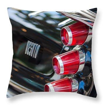 Throw Pillow featuring the photograph 1959 Desoto Adventurer Hardtop Coupe 2-door Taillight Emblem by Jill Reger