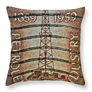 1959 First Oil Well Stamp Throw Pillow