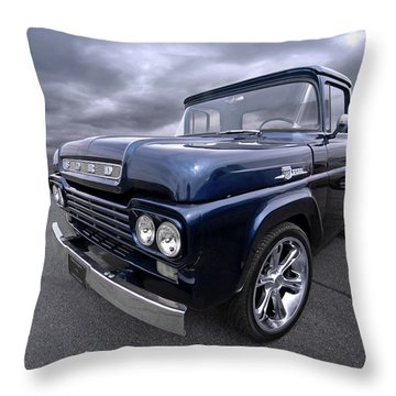 1959 Ford F100 Dark Blue Pickup Throw Pillow by Gill Billington