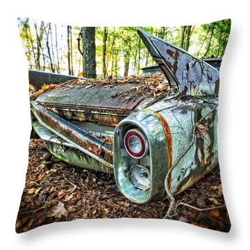 1960 Cadillac At Rest Throw Pillow by Alan Raasch