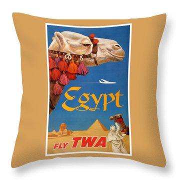 1960 Egypt Twa David Klein Travel Poster  Throw Pillow