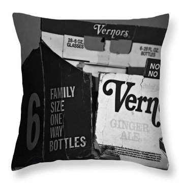 1960's Vernors Box. No Deposit, No Rerurn  Throw Pillow by Sandra Church