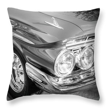 Throw Pillow featuring the photograph 1961 Chevrolet Impala Ss Bw by Rich Franco