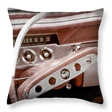 Throw Pillow featuring the photograph 1961 Chevrolet Impala Ss Steering Wheel Emblem -1156ac by Jill Reger