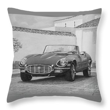 1961 Jaguar Xke Cabriolet In Black And White Throw Pillow