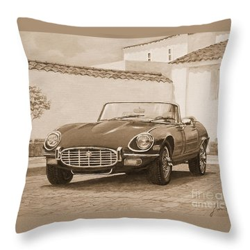 1961 Jaguar Xke Cabriolet In Sepia Throw Pillow