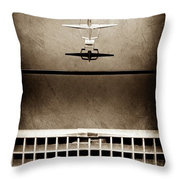 1961 Lincoln Continental Hood Ornament -0003s Throw Pillow