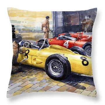 1961 Spa-francorchamps Ferrari Garage Ferrari 156 Sharknose  Throw Pillow