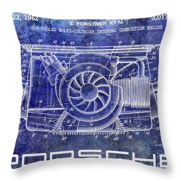 1962 Porsche Engine Patent Blue Throw Pillow