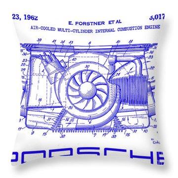 1962 Porsche Engine Patent Blueprint Throw Pillow