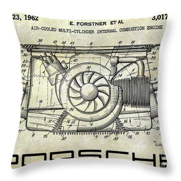 1962 Porsche Engine Patent Throw Pillow