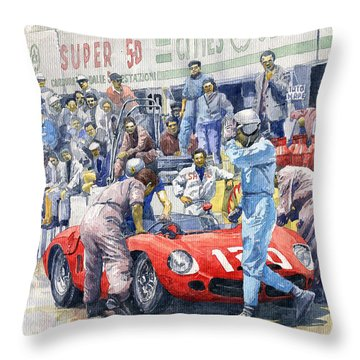 1962 Targa Florio Ferrari Dino 196sp Bandini Baghnetti Throw Pillow by Yuriy Shevchuk