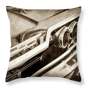 Throw Pillow featuring the photograph 1963 Chevrolet Taillight Emblem -0183s by Jill Reger