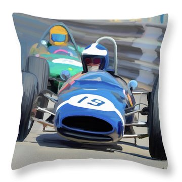 1963 Cooper T66 Coming Out Of Monaco's Mirabeau Throw Pillow by Wally Hampton