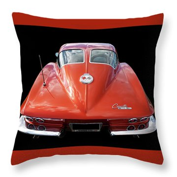 1963 Corvette Stingray Split Window Rear Throw Pillow