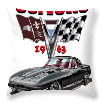 1963 Corvette With Split Rear Window Throw Pillow