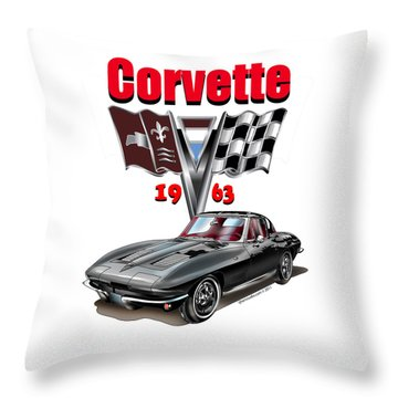 1963 Corvette With Split Rear Window Throw Pillow by Thomas J Herring