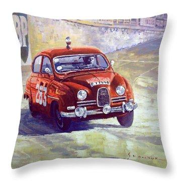 1963 Saab 96 #283  Rallye Monte Carlo  Carlsson Palm Winner Throw Pillow by Yuriy Shevchuk