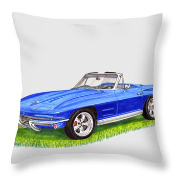 Throw Pillow featuring the painting 1964 Corvette Stingray by Jack Pumphrey