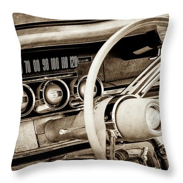 Throw Pillow featuring the photograph 1964 Ford Thunderbird Steering Wheel -0280s by Jill Reger