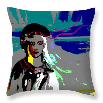 Throw Pillow featuring the digital art 1964 - Walk On The Seaside by Irmgard Schoendorf Welch
