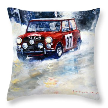 1964 Rallye Monte Carlo Mini Cooper S Hopkirk Liddon Winner Throw Pillow by Yuriy Shevchuk