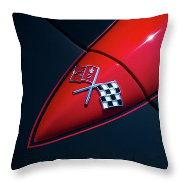 Throw Pillow featuring the photograph 1965 Corvette Hood by Joel Witmeyer