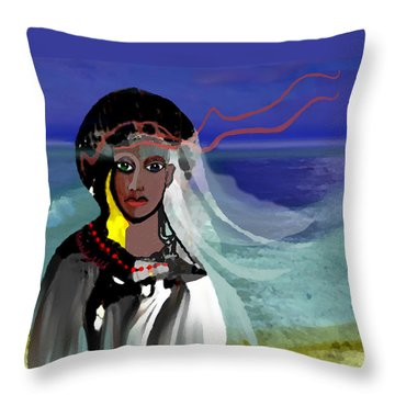 Throw Pillow featuring the digital art 1965 - Walk On The Oceanside by Irmgard Schoendorf Welch