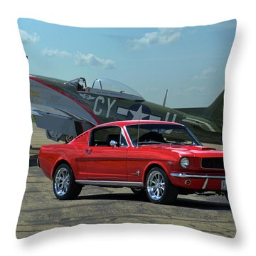 1965 Mustang Fastback And P51 Mustang Throw Pillow